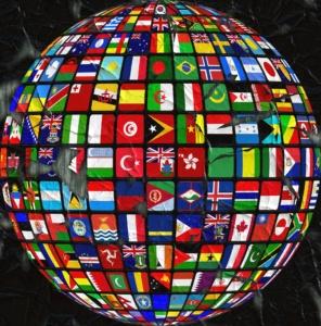 Flags organized as globe