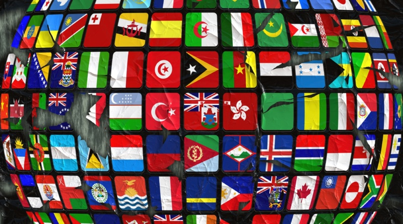 Flags organized as globe