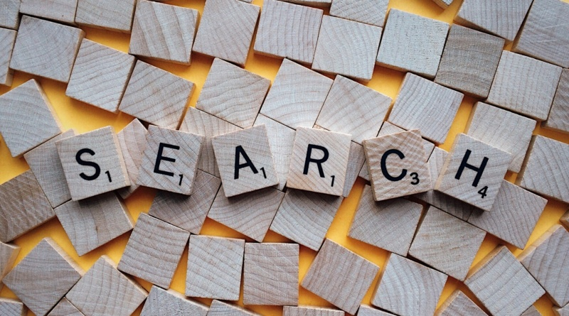 """search"" spelled with Scrabble letters"